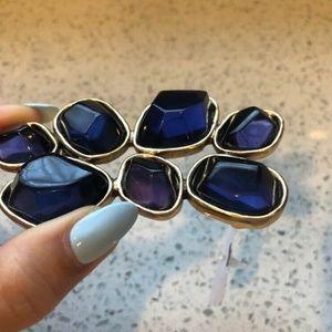 Oscar de la Renta Belt Buckle Blue/Purple Crystals